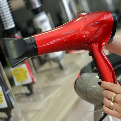Imagem de Secador De Cabelo Mallory 4000 Ion Profissional Ar Quente Frio Vermelho Bivolt Com Difusor De Cachos