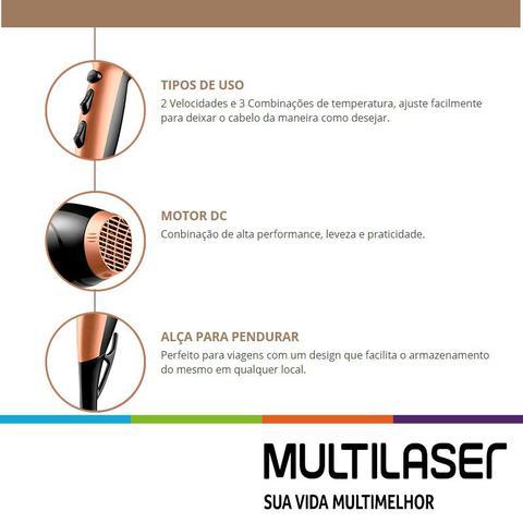 Imagem de Secador De Cabelo Multilaser 1900w Dourado + Difusor + Prancha Titanium 220c Progressiva