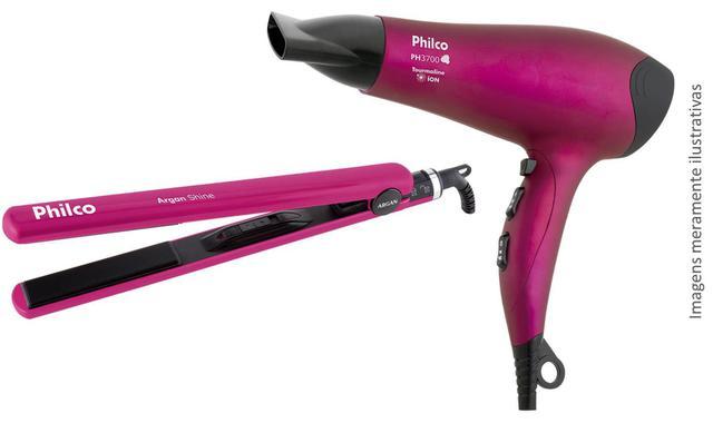 Imagem de Secador de Cabelo PH3700 Pink 2000W + Prancha Argan Shine Philco - Conjunto Beleza Feminina Shine