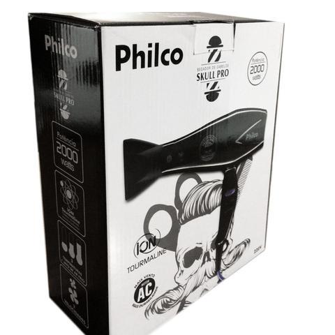 Imagem de Secador De Cabelo Philco Skull Profissional Salão 2000w Íon Difusor + Prancha Cerâmica 230C