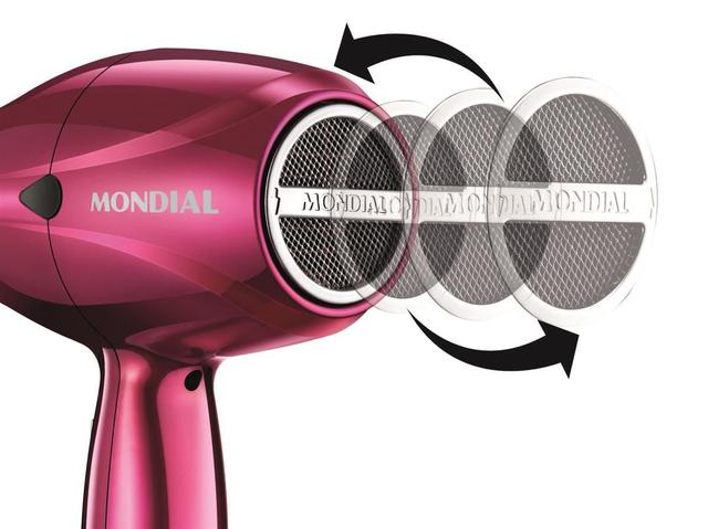 Imagem de Secador de Cabelos Mondial Chrome Pink SC33 com Motor AC Profissional - Rosa
