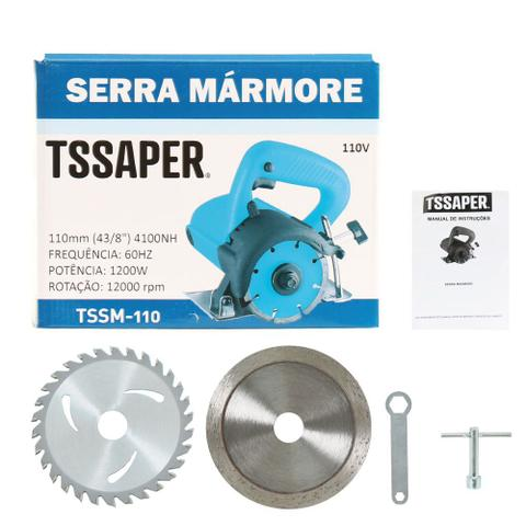 Imagem de Serra Mármore Profissional 1200w 4.3/8 110mm Tssaper + 2 Discos