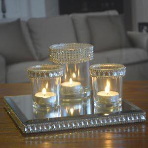 Imagem de Set c/4pcs castical vidro bandeja espelho shiny princess dourado