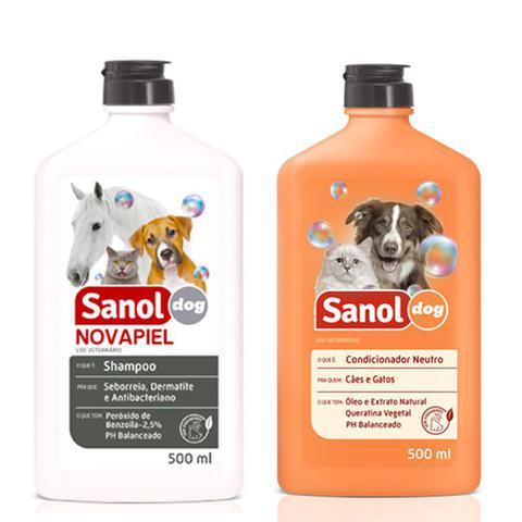 Imagem de Shampoo de Alergia para cães Peróxido de Benzoila Bactericida Seborreico Novapiel e Condicionador Neutro Sanol Cachorro e Gatos