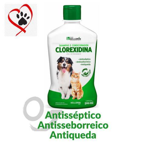 Imagem de Shampoo e condicionador pet para cachorros gatos 5 em 1 clorexidina anti seborreia  kelldrin 500ml