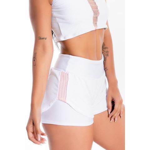 Imagem de Short Saia Corrida Branco Liso Detalhe Feminino Rosê GR Esporte