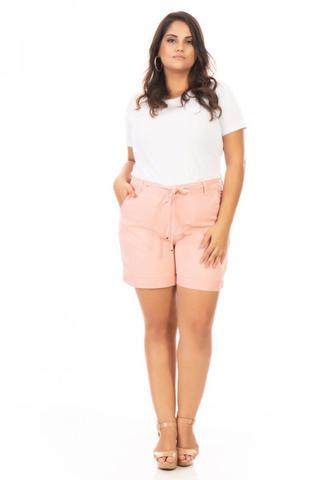 Imagem de Shorts Feminino Jeans Color com Amarração Plus Size