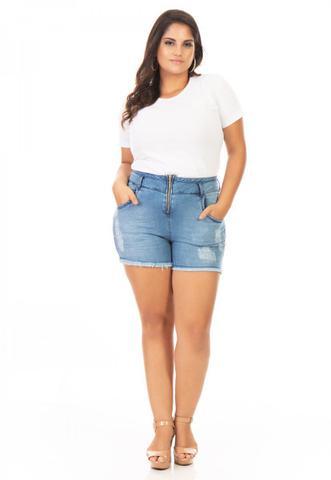 Imagem de Shorts Feminino Jeans com Zíper Plus Size