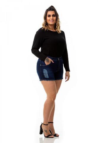 Imagem de Shorts Feminino Jeans Destroyed Curto Plus Size