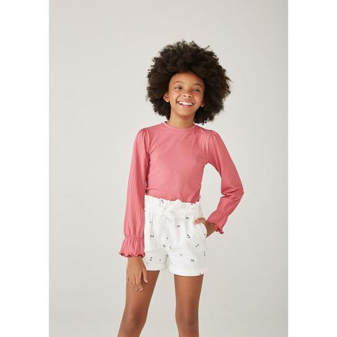 Imagem de Shorts Infantil Menina Em linho Com Bordado