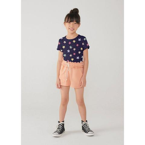 Imagem de Shorts Infantil Menina Evasê Em Malha De Algodão