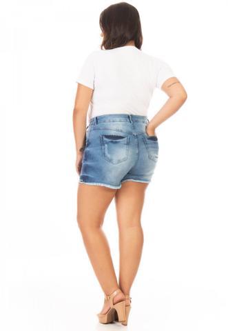 Imagem de Shorts Jeans Feminino Lace Up Plus Size