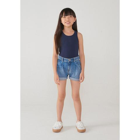 Imagem de Shorts Jeans Infantil Menina Com Barra Dobrada