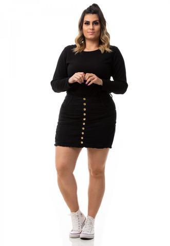 Imagem de Shorts Saia Feminino Jeans com Botões Cintura Alta Plus Size
