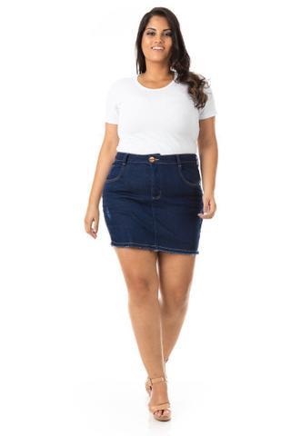 Imagem de Shorts Saia Feminino Jeans com Lycra Plus Size