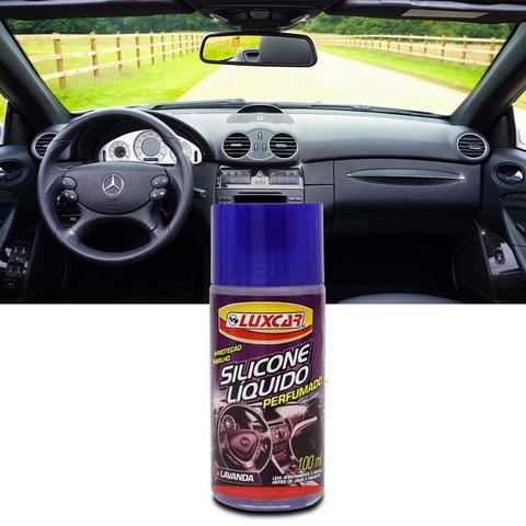 Imagem de Silicone Líquido Perfumado Luxcar Lavanda 100ml Brilho Proteção UV para Plástico Borracha e Inox