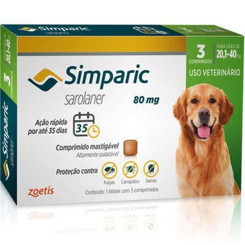 Imagem de Simparic antipulgas para Cães de 20,1 a 40Kg - 80mg - cx com 3 compr - Zoetis
