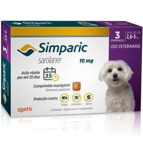 Imagem de simparic antipulgas para Cães de 2,6 a 5Kg - 10mg - 3 comprimidos - Zoetis