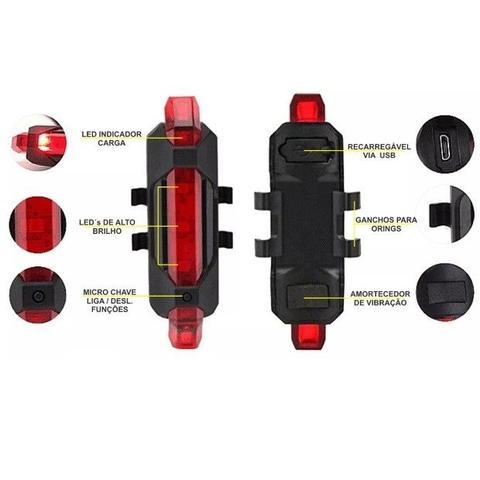 Imagem de Sinalizador lanterna para bicicleta bike 5 leds dianteiro pisca usb recarregavel