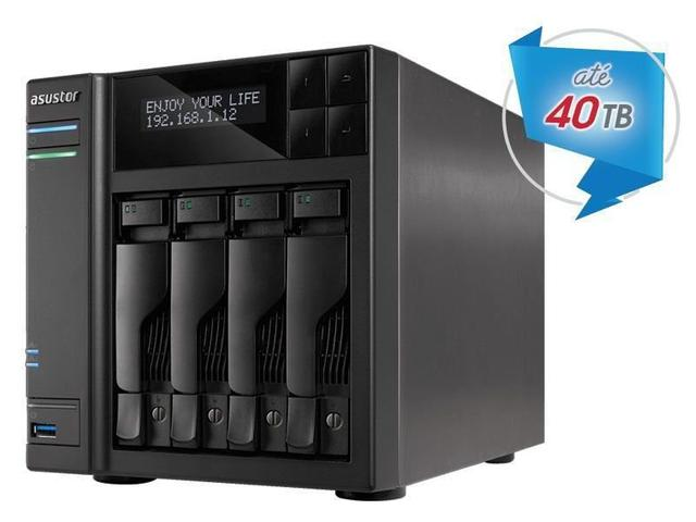 Imagem de Sistema de Backup NAS Asustor AS6404T INTEL Dual Core J3455 1.5GHZ 8GB DDR3 Torre 4 Baias