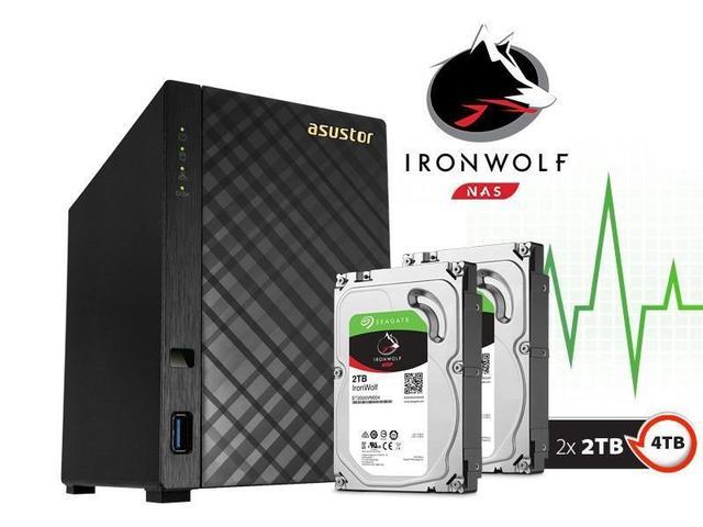 Imagem de Sistema de Backup NAS com Disco Ironwolf Asustor AS1002T4000 V2 Marvell Dual Core 1.6 GHZ 512MB DDR3 Torre 4TB