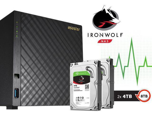 Imagem de Sistema de Backup NAS com Disco Ironwolf Asustor AS3104T8000 Celeron Dual Core 1,6GHZ 2GB DDR3 Torre 8TB