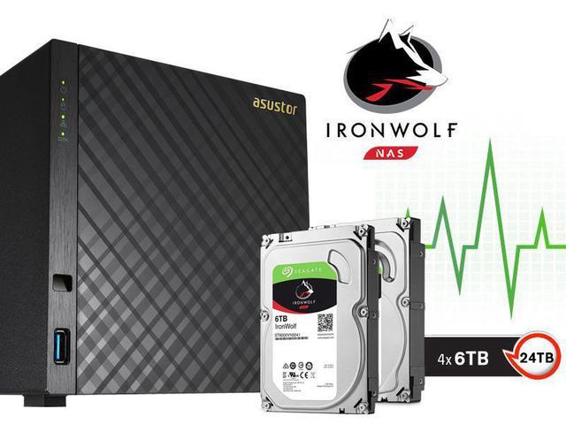 Imagem de Sistema de Backup NAS com Disco Ironwolf Asustor AS3204T24000 Celeron Quad Core 1,6GHZ 2GB DDR3 Torre 24TB