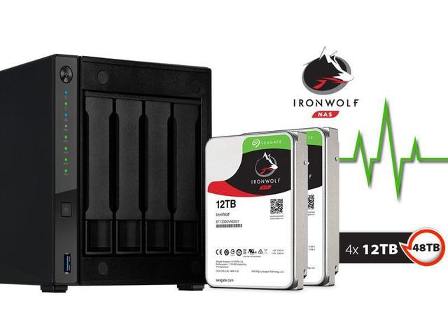 Imagem de Sistema de Backup NAS com Disco Ironwolf Asustor AS4004T48000 Marvell  1,60GHZ 2GB DDR4 Torre 48TB HOT-SWAP