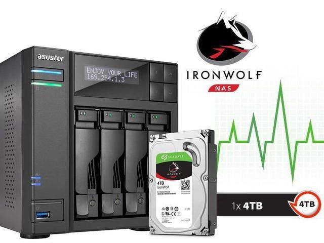 Imagem de Sistema de Backup NAS com Disco Ironwolf Asustor AS6204T4000 INTEL Quad Core J3160 1.6GHZ 4GB DDR3 Torre 4TB