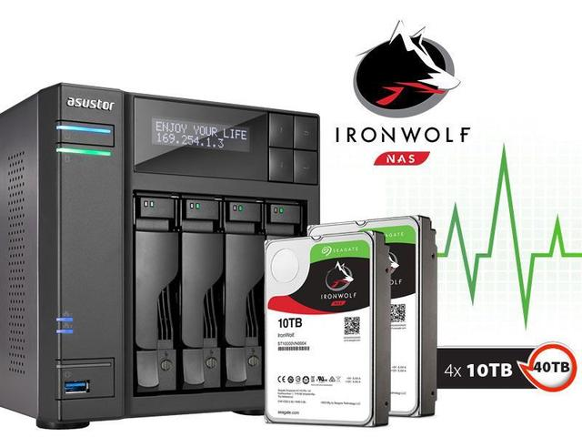 Imagem de Sistema de Backup NAS com Disco Ironwolf Asustor AS6204T40000 INTEL Quad Core J3160 1,6GHZ 4GB DDR3 Torre 40TB