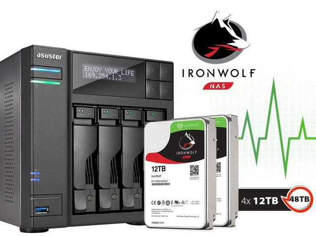 Imagem de Sistema de Backup NAS com Disco Ironwolf Asustor AS6204T48000 INTEL Quad Core J3160 1,6GHZ 4GB DDR3 Torre 48TB