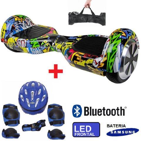 Imagem de Skate Elétrico Hoverboard 6.5 Hip Hop + Kit de Proteção Azul Bluetooth, LED - Bateria Samsung Bolsa - Smart Balance PM