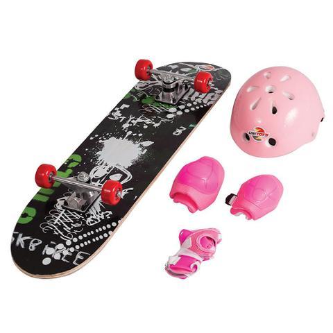 Imagem de Skate Infantil + Kit Segurança Azul Rosa Vermelho Unitoys