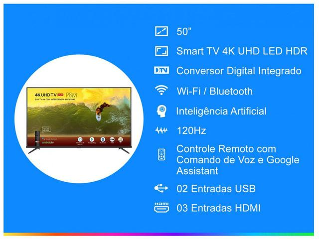 "Imagem de Smart TV 4K LED 50"" SEMP TCL 50P8M Android Wi-Fi"