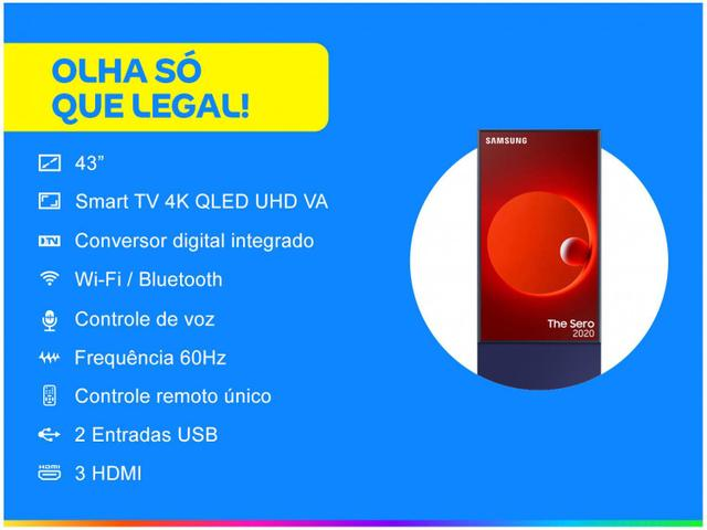 """Imagem de Smart TV 4K QLED 43"""" Samsung The Sero Wi-Fi"""