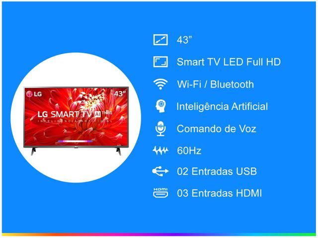 "Imagem de Smart TV LED 43"" LG 43LM6300PSB Full HD Wi-Fi"