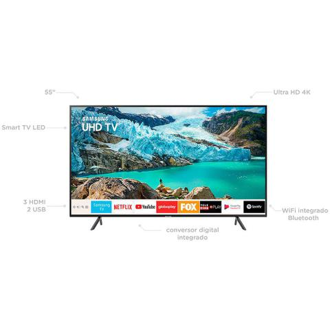 Imagem de Smart TV LED 55 Polegadas Samsung 55RU7100 Ultra HD 4K com Conversor Digital 3 HDMI 2 USB Wi-Fi Controle Remoto Único e Bluetooth