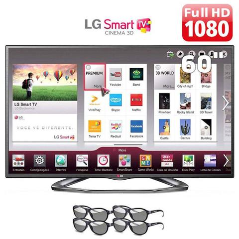 Imagem de Smart TV LED 60 Polegadas LG Slim 3D TV 4 Óculos 60LA6200