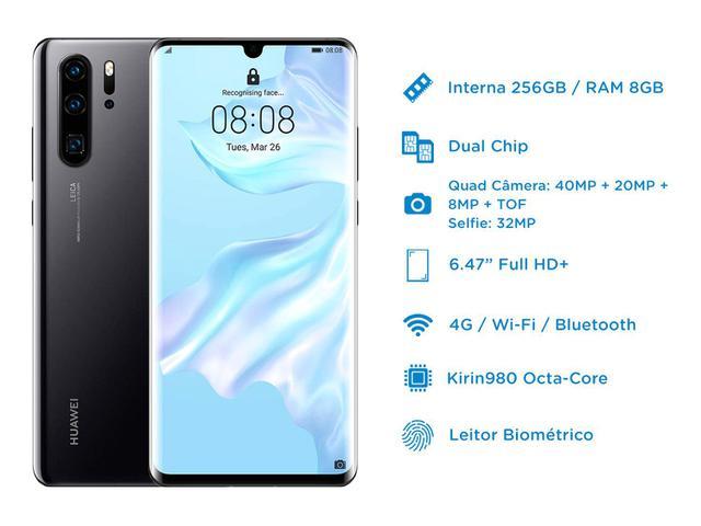 Imagem de Smartphone Huawei P30 Pro 256GB Preto 4G 8GB RAM