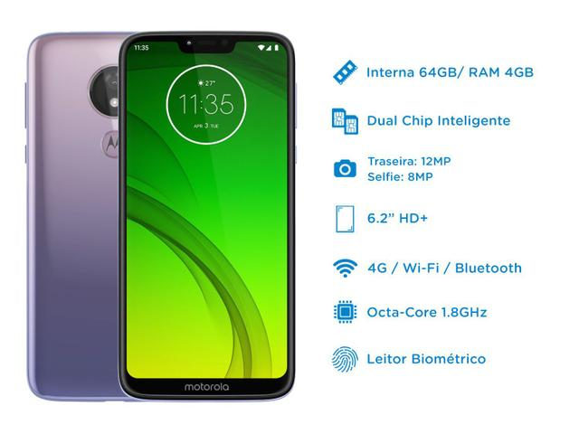 Imagem de Smartphone Motorola G7 Power 64GB Lilac 4G