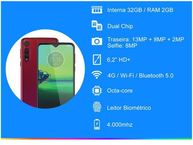 Imagem de Smartphone Motorola G8 Play 32GB Vermelho 4G