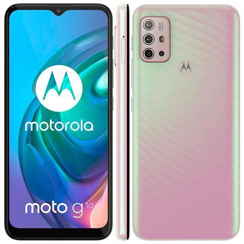 """Imagem de Smartphone Motorola Moto G10 6.5"""" 1.8GHz Octa-Core 64GB 4GB Câmera Quádrupla 48MP Branco Floral"""