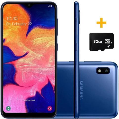 Imagem de Smartphone Samsung A105 Galaxy A10 Azul 32GB + Cartão de Memória 32GB