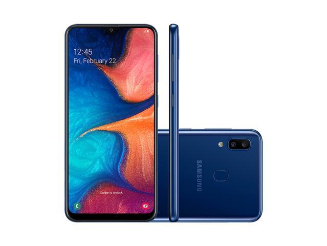 Imagem de Smartphone Samsung A20 32GB, A205G/32DL, Câmera traseira Dupla 13 MP + 5 MP Frontal 8 MP Tela 6.4