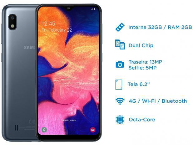 """Imagem de Smartphone Samsung Galaxy A10 32GB Preto 4G 2GB RAM 6,2"""" Câm. 13MP + Câm. Selfie 5MP"""