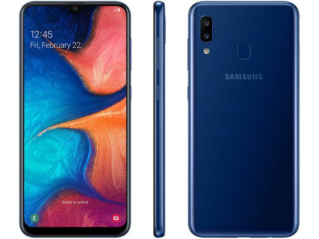 """Imagem de Smartphone Samsung Galaxy A20 32GB Azul 4G - 3GB RAM Tela 6,4"""" Câm. Dupla + Câm. Selfie 8MP"""