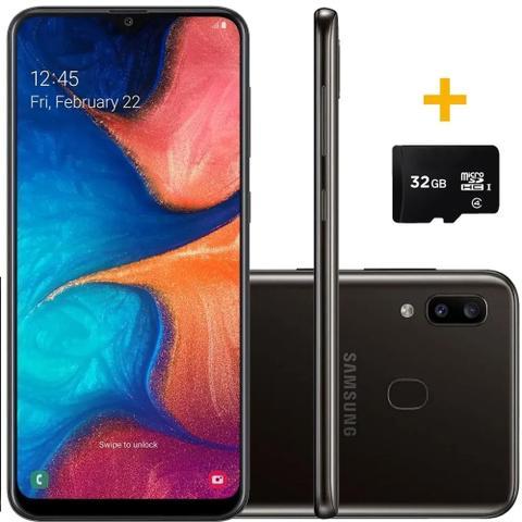 """Imagem de Smartphone Samsung Galaxy A20 32GB Preto 4G - 3GB RAM 6,4"""" Câm. Dupla + Câm. Selfie 8MP + Cartão de Memória 32GB"""