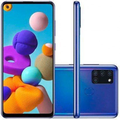 Celular Smartphone Samsung Galaxy A21s - 3gb Ram A217m 64gb Azul - Dual Chip