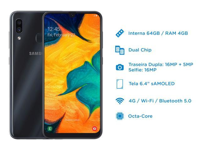 """Imagem de Smartphone Samsung Galaxy A30 64GB Preto 4G 4GB RAM 6,4"""" Câm. Dupla + Câm. Selfie 16MP"""