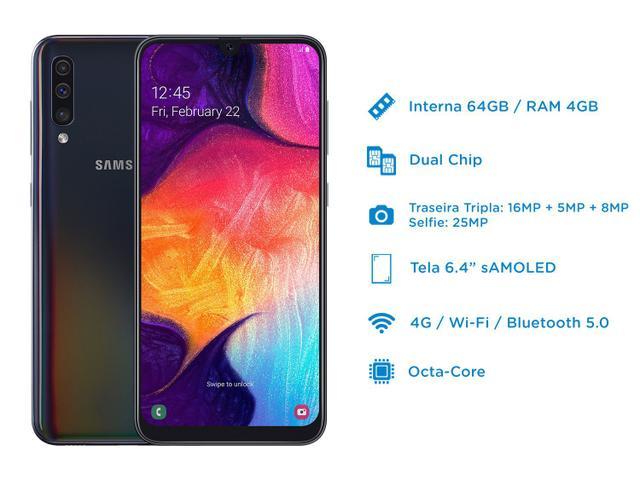 """Imagem de Smartphone Samsung Galaxy A50 64GB Preto 4G - 4GB RAM 6,4"""" Câm. Tripla + Câm. Selfie 25MP"""